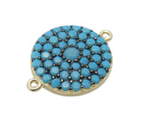 Round Coin Charm Double Bail Pendant - Gold over Sterling with Light Blue Pave