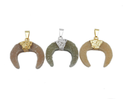 Druzy Crescent Pendant with Electroplated Band