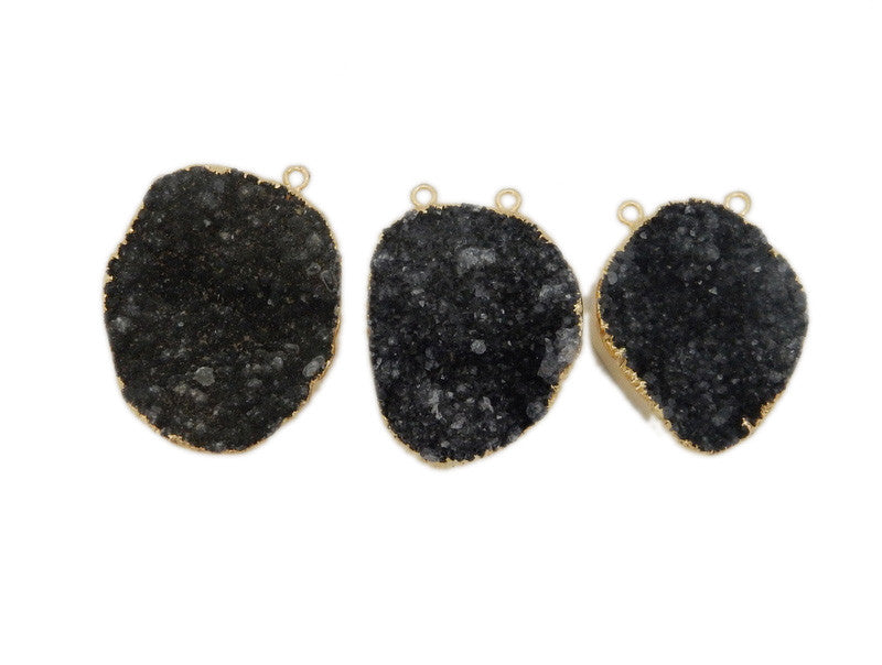 Black Druzy Freeform Double Bail Pendant with Electroplated 24k Gold Edge