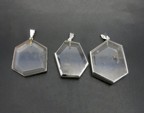 Amazing Crystal Quartz Hexagon Pendant Silver Electroplated Edge and Bails