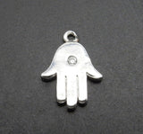 Tiny Hamsa Hand - Silver Plated Tiny Hamsa Hand Pendant with Rhinestone Accent