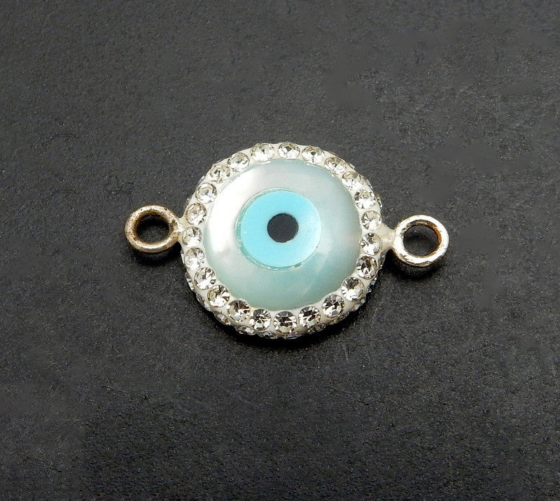 Pearl Round Eye Double Bail Pendant with Silver Colored Rhinestone Pave Band