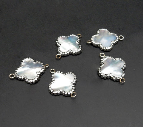 Mother of Pearl Double Bail Connector Bar Pendant set in a Sterlng Silver Bezel (LA-22)