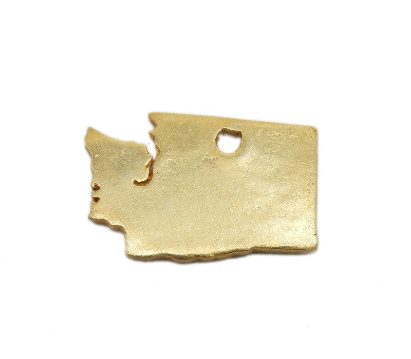 Washington State Cast in Gold Over Sterling Silver Cast Charm Stamping Blank State Charm
