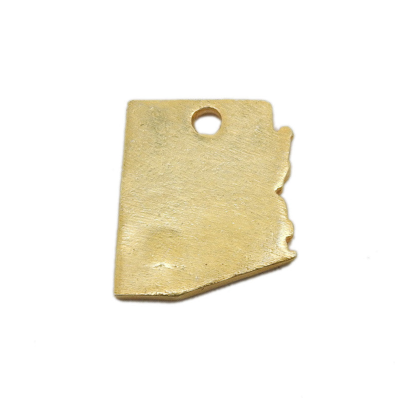 Arizona State Cast in Gold Over Sterling Silver Cast Charm Stamping Blank State Charm