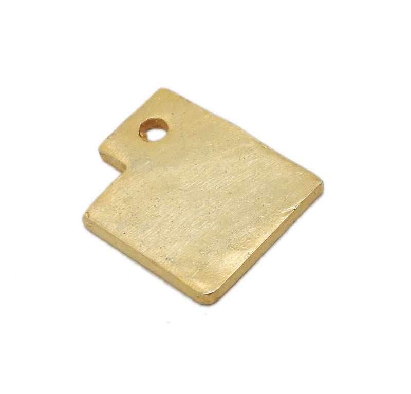 Utah State Cast in Gold Over Sterling Silver Cast Charm Stamping Blank State Charm