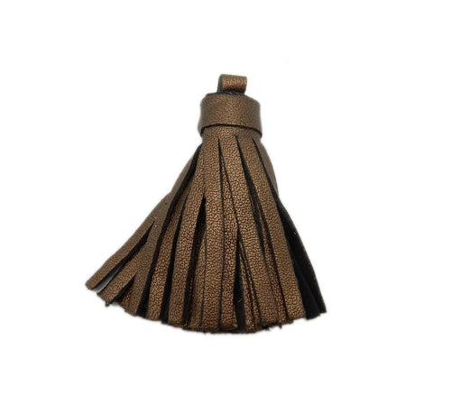 Metallic Brown Leather Strand Tassel Pendant with Pattern