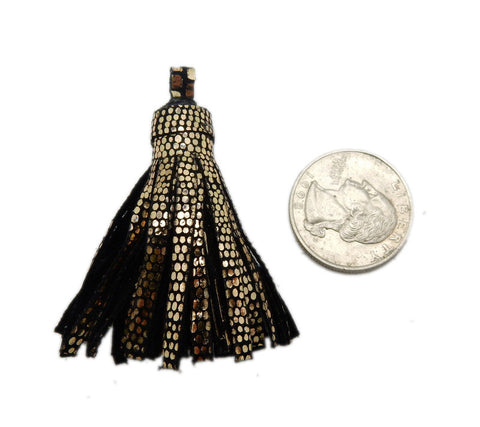 Gold and Black Metallic Striped Leather Strand Tassel Pendant with Pattern
