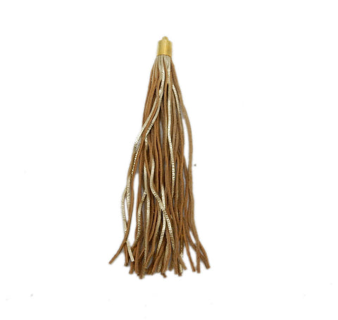 Metallic Gold Leather Tassel - Large Leather Strand Tassel Pendant with Gold Plated Cap and Bail