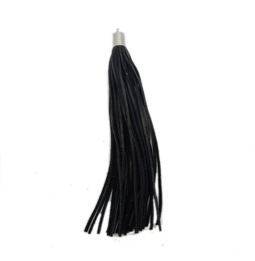 Black Leather Tassel - Large Leather Strand Tassel Pendant with Silver Plated Cap and Bail