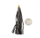 Metallic Brown Leather Tassel - Large Leather Strand Tassel Pendant with Gold Plated Cap and Bail