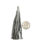Silver Leather Tassel - Large Leather Strand Tassel Pendant with Silver Plated Cap and Bail