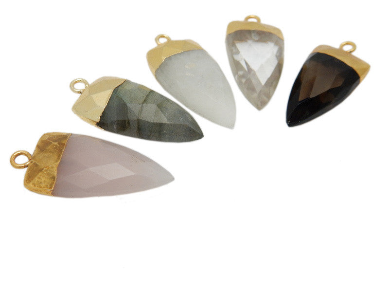 Fancy Petite Gemstone Spear Pendant with Electroplated 24k Gold Cap and Bail (S96B15)
