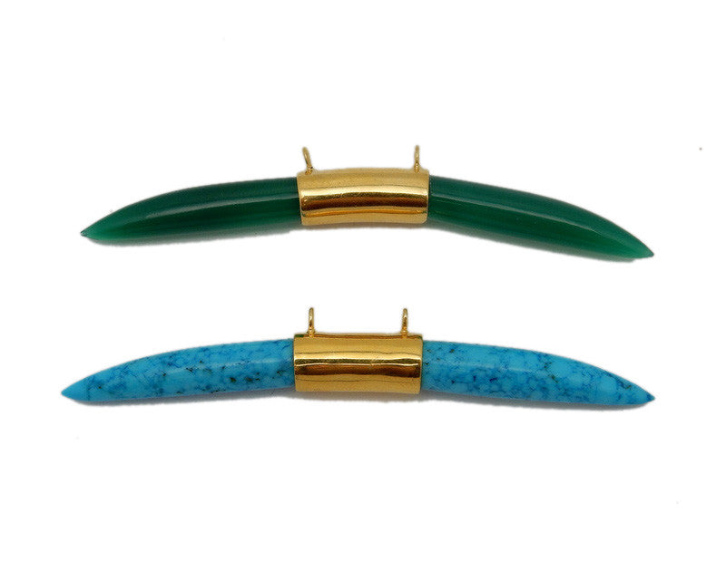 Gemstone Sideways Horn Double Bail Pendants with Gold Over Sterling Band (S96B13)