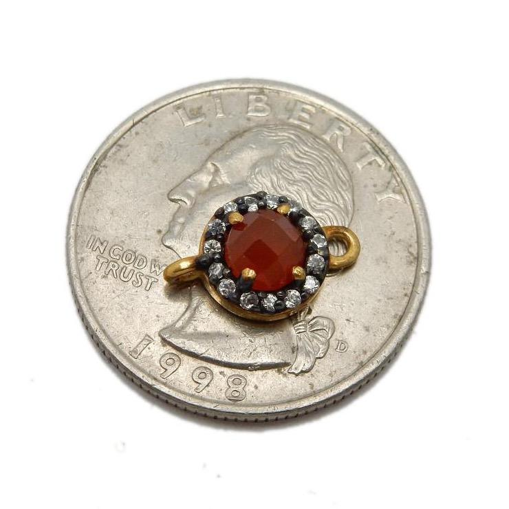 Tiny Gemstone Double Bail Pendant Set in Gold Plated Bezel with Rhinestone Pave Accent