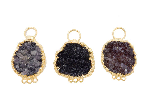 Black Diamond Druzy - Gold Plated Crescent Pendant with Round Black Diamond Druzy Accent