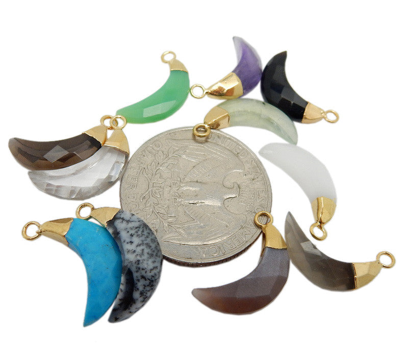Petite Gemstone Half Moon Pendants with Electroplated 24k Gold Cap and Bail (S96B12)