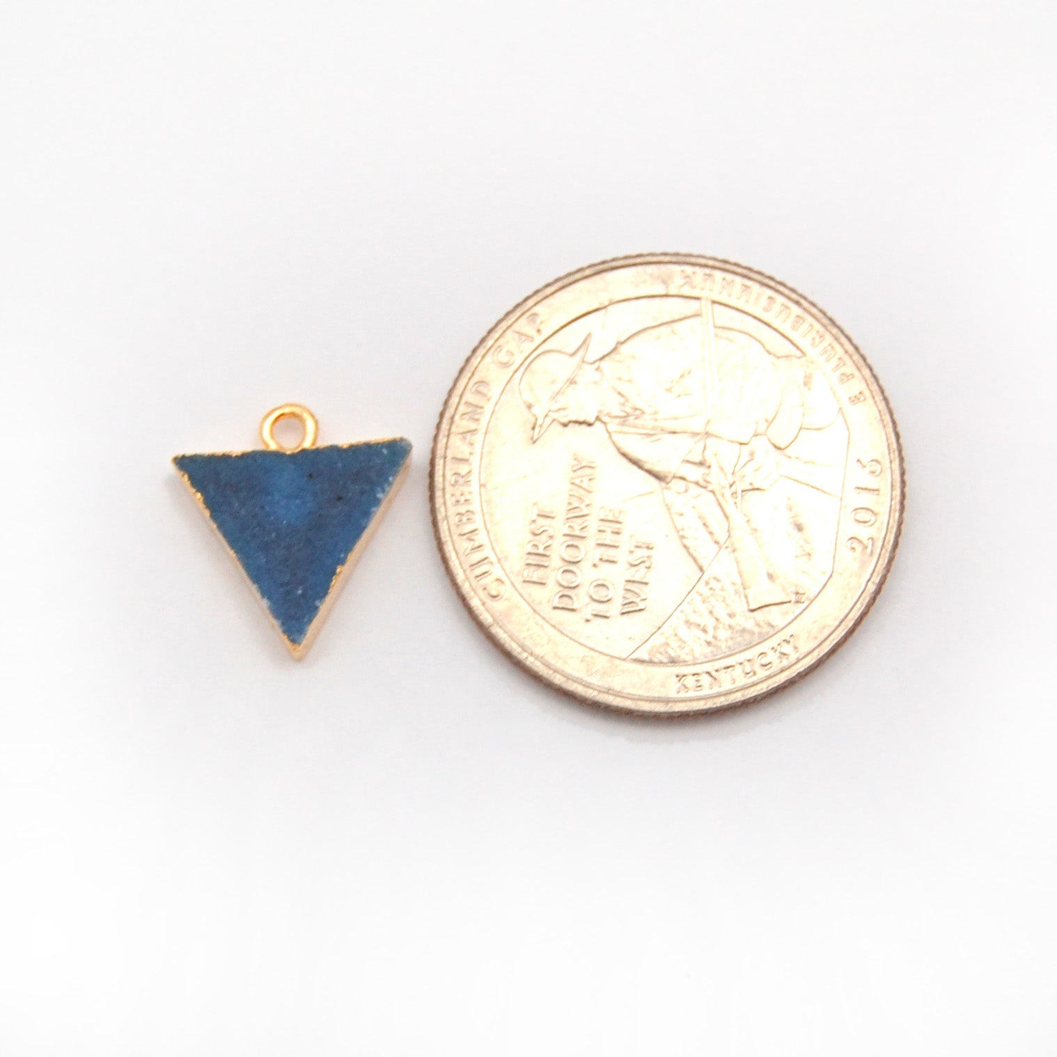 Druzy Triangle PAIRS with Electroplated Edge