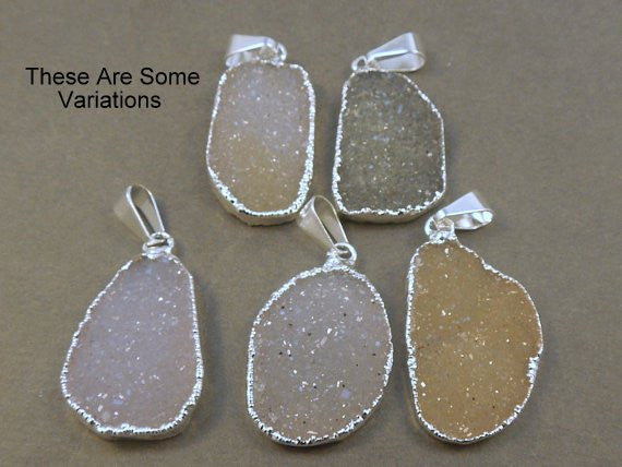 Druzy Freeform Pendant Silver Electroplated