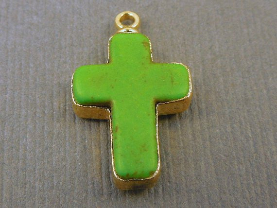 Howlite Cross Pendant with 24k Gold Electroplated Edge