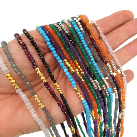 "Gemstone Beaded Chain - 30"" Finished - YOU CHOOSE 3-4mm Stone Beads with Lobster Clasp (S92B6)"