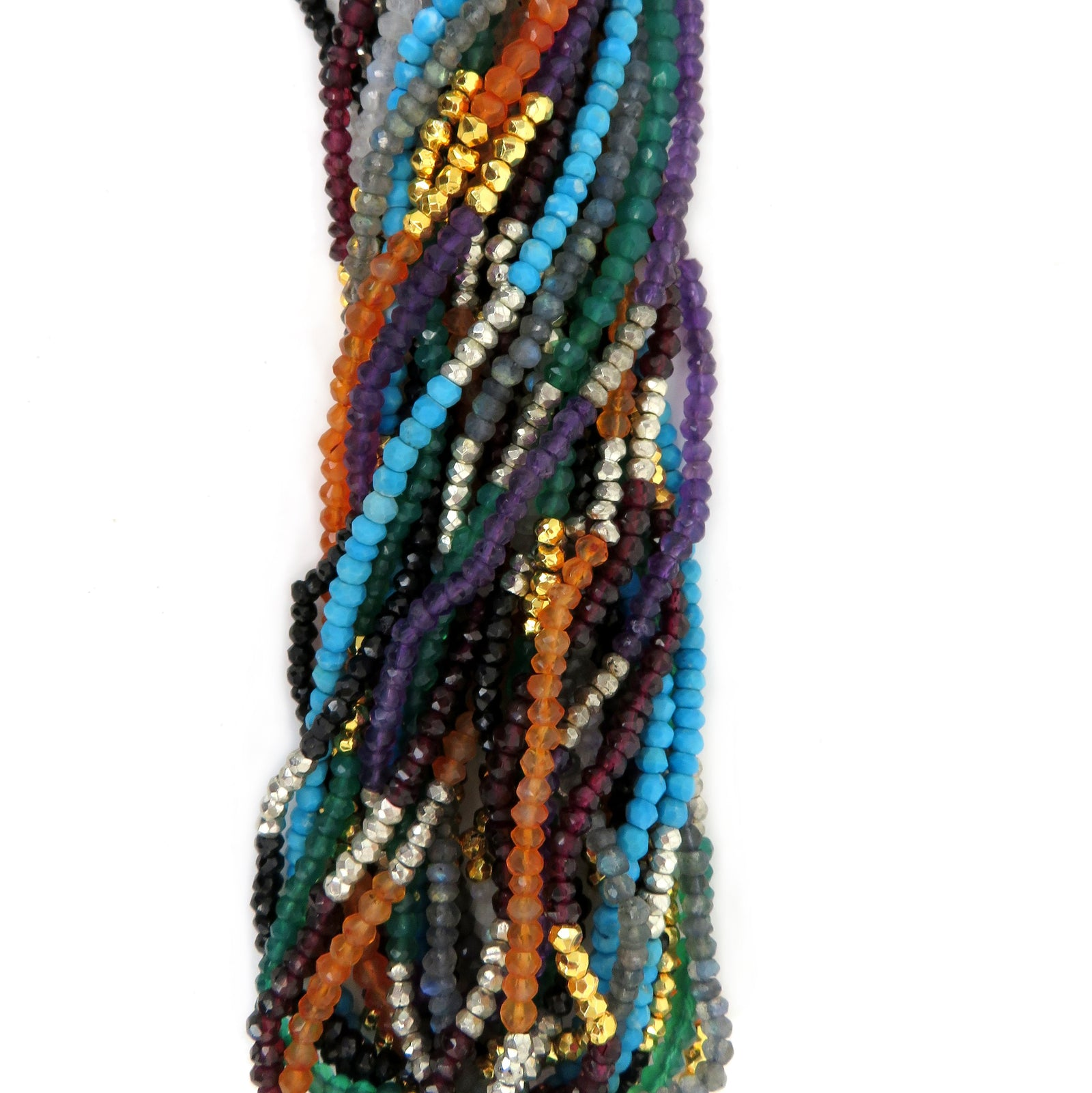 "Gemstone Beaded Chain - 30"" Finished - YOU CHOOSE 3-4mm Stone Beads with Pyrite Beads with Lobster Clasp (S92B2)"