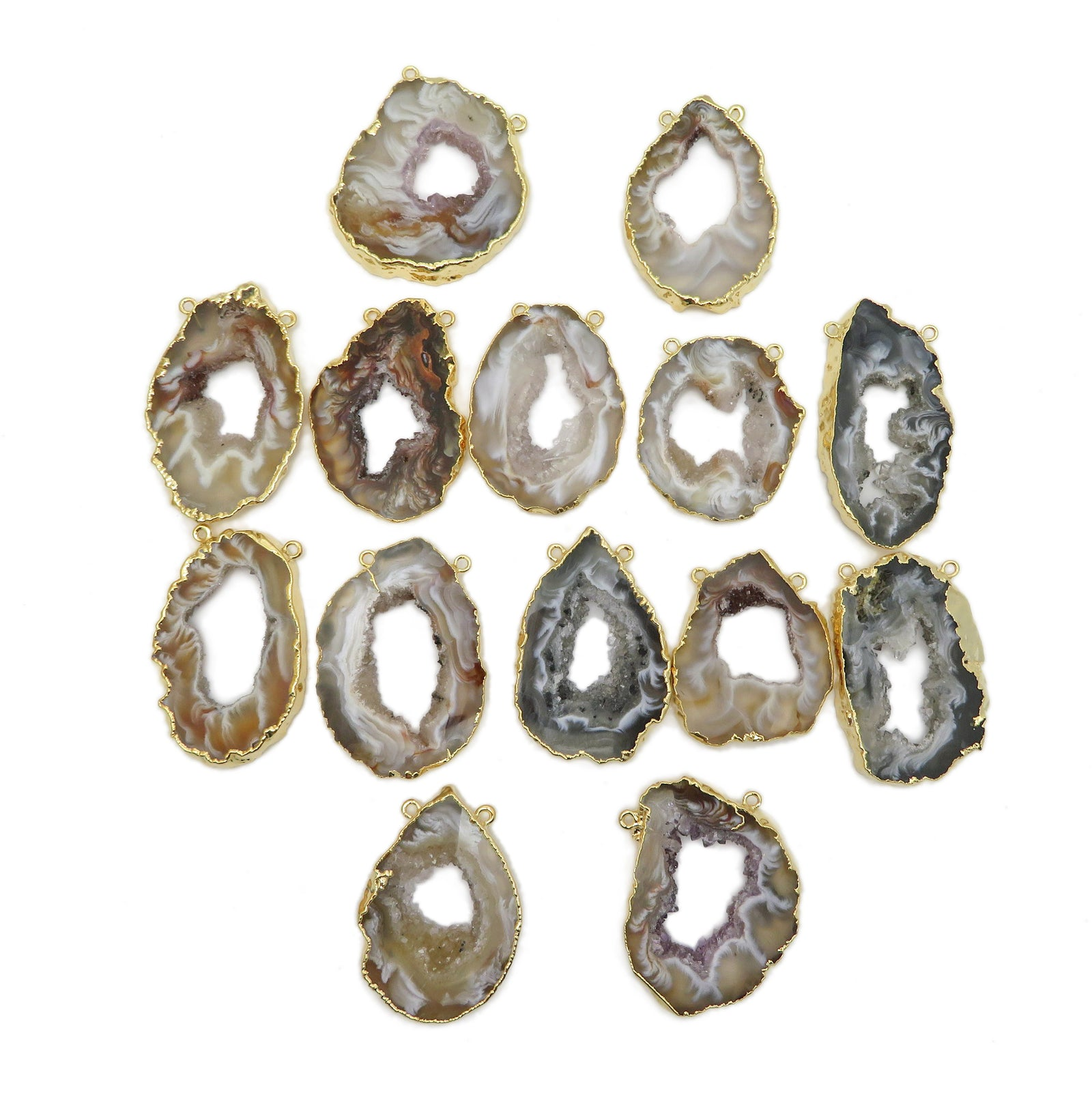 Geode Slice Pendant Double Bail Gold Electroplated (S25B32)
