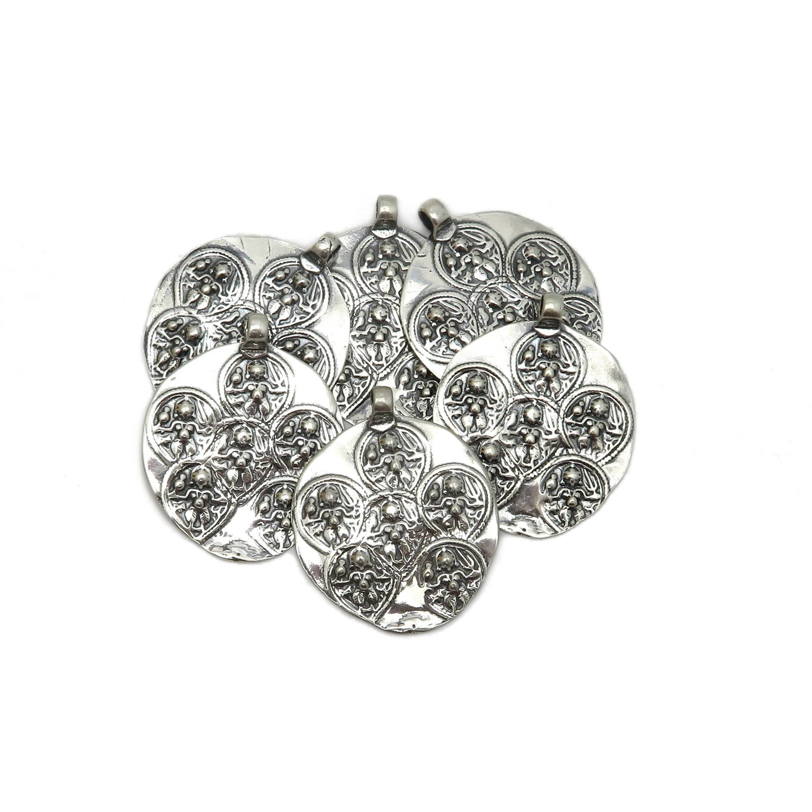 Sterling Silver Pendant-- Large Sterling Engraved Circle Shaped Artisan Pendant (SBC-59)