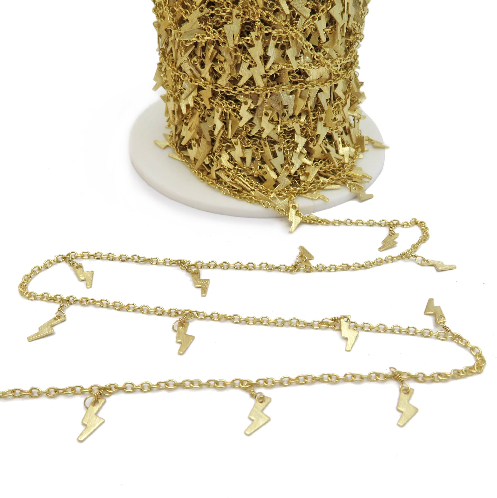 Gold Plated Chain with Dangling Gold Lightening Bolt Charms -- Choose from 1, 3, or 10 feet (CHN-771)