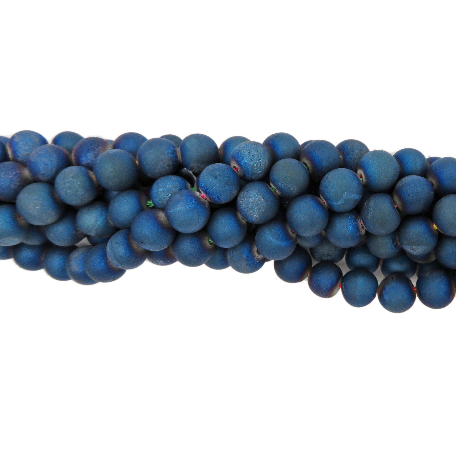 Blue Druzy Titanium Quartz Beads- 8mm Round Blue Druzy Quartz Beads- 1 STRAND (S41B21-03)