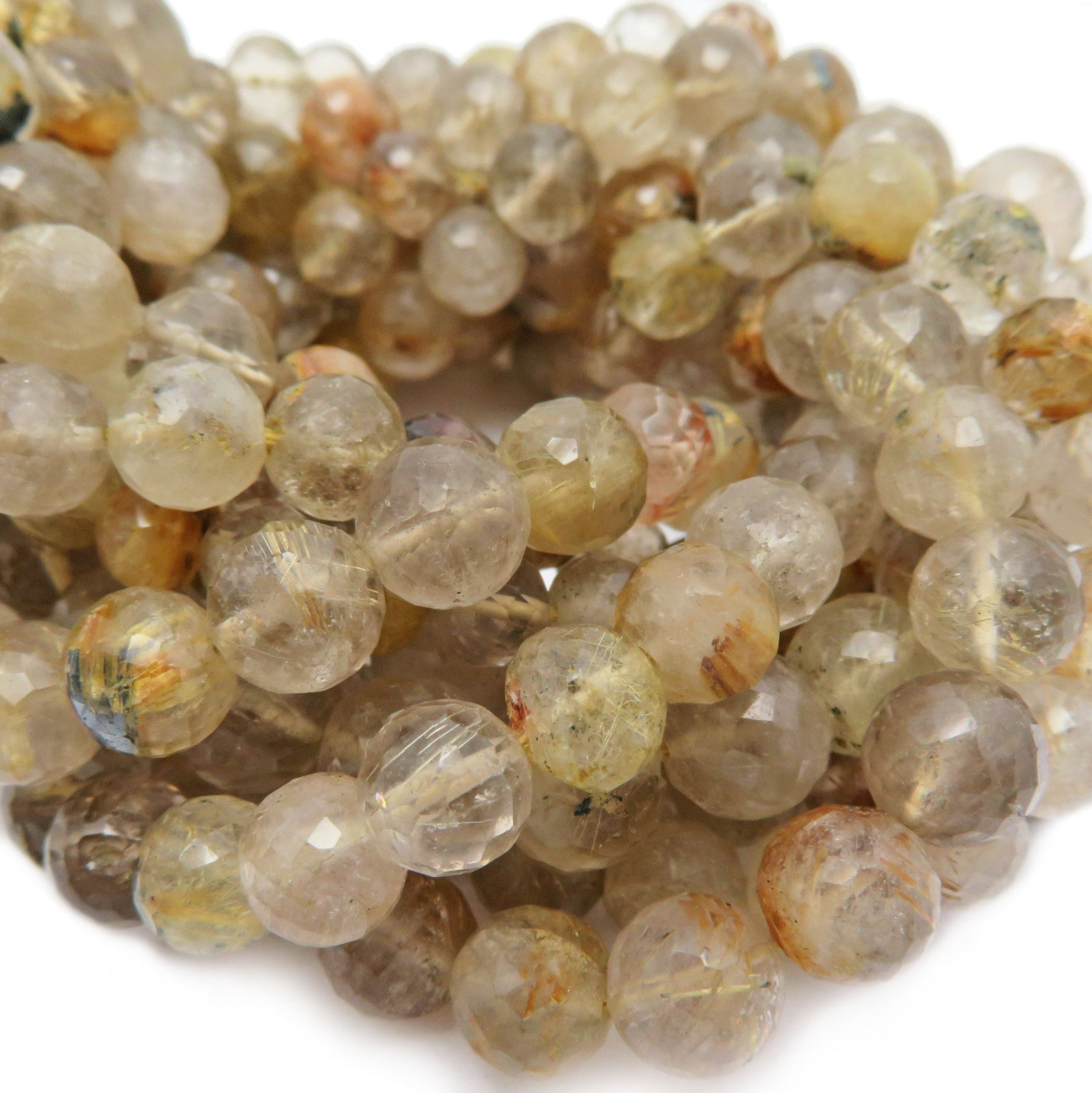 Golden Rutilated Crystal Quartz Beads  1 STRAND (S41B22-02)