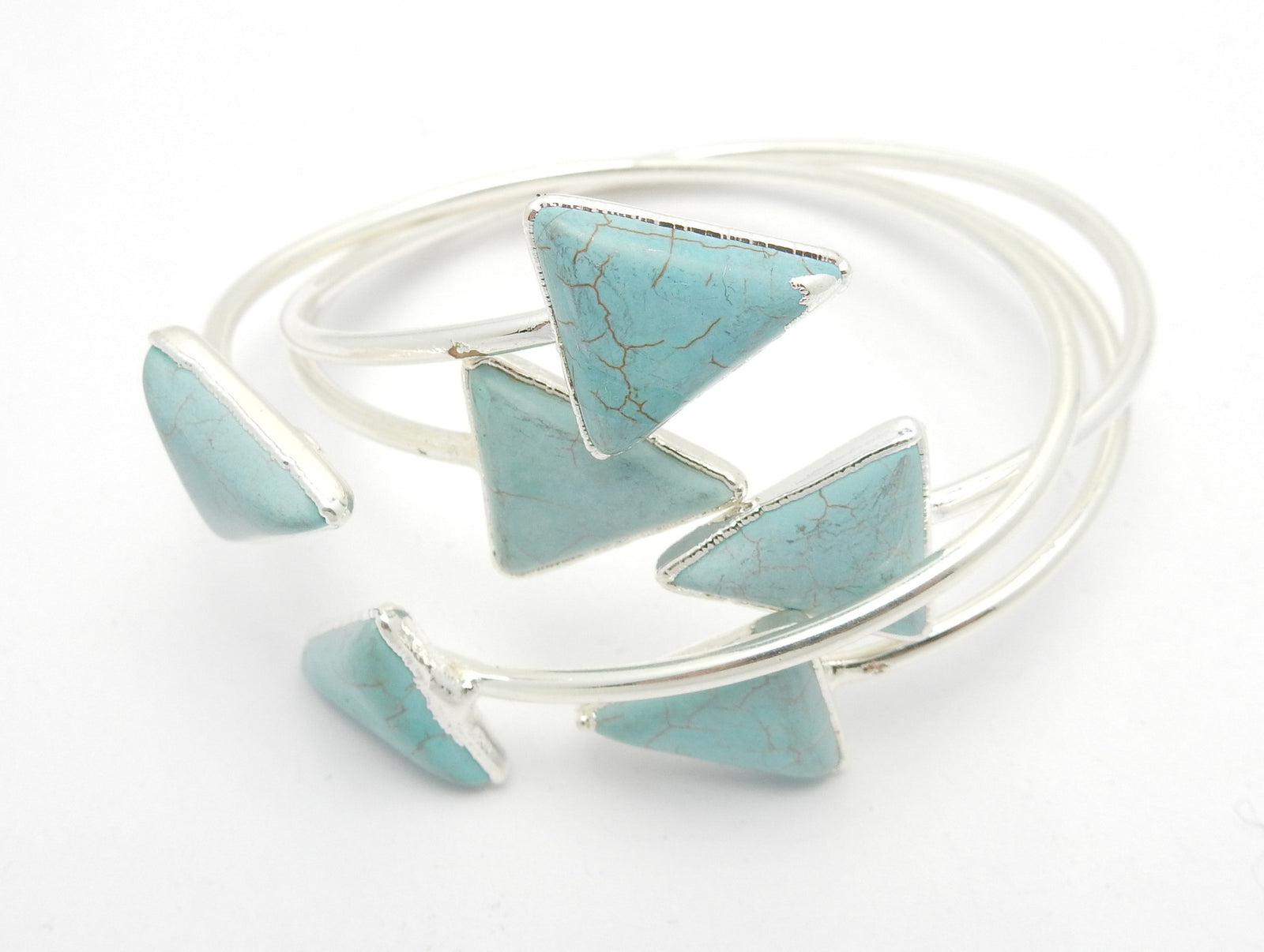 Turquoise Howlite Triangle Adjustable Cuff Sterling Silver or 24k gold electroplate (BRAC-Box-07-07)