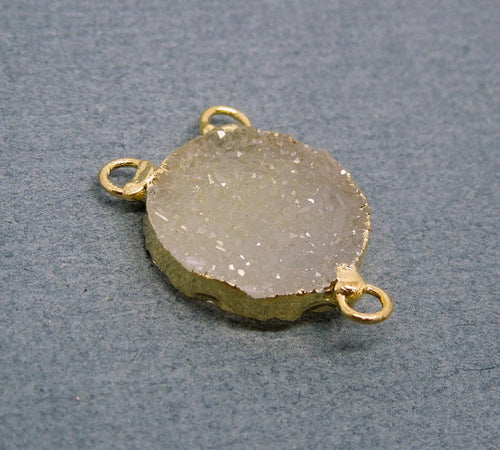 Round Triple Bail Druzy Pendant Connector with Electroplated 24K Gold
