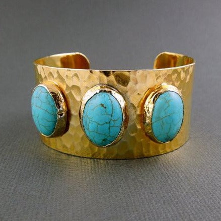 Triple Oval Turquoise 24k Gold Electroplated Cuff - Large Adjustable Turquoise Howlite Electroplated 24k Gold Cuff  (BRAC-box6-02)
