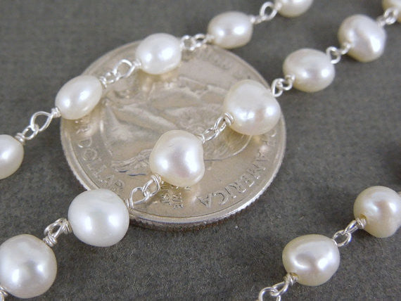Tumbled Pearl Wire Wrapped Beaded Silver Chain (CHN-214)