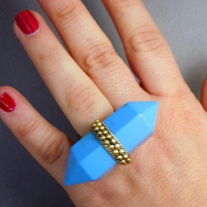 Tibetan-style Brass and Turquoise Colored Double Termiated Pencil Point Adjustable Ring (S52B7-01)