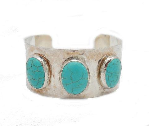 Triple Oval Turquoise Howlite 24k Gold Electroplated Cuff  (4BROWNSHELF-36)