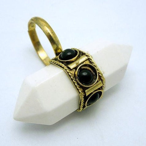 Tibetan-style Brass and White Double Termiated Pencil Point Adjustable Ring (S52B6-01)