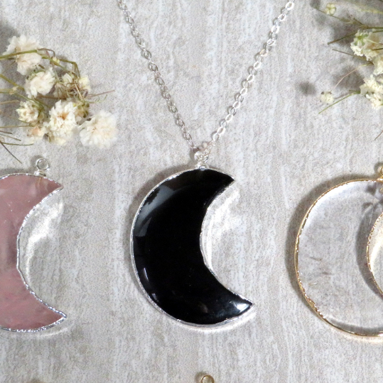 Gemstone Moon Crescent Pendant with Electroplated 24k Gold/Silver Edge. (S1B31)