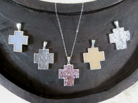 Druzy Cross Pendant with Electroplated 24k Gold or Silver Edge and Bail (S1b31-07)(S1B31-08)