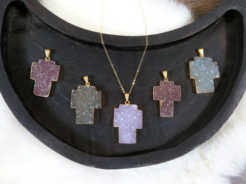 Druzy Cross Double Bail Connector Pendant with 24k Gold Electroplated Edge (S1b31-01)