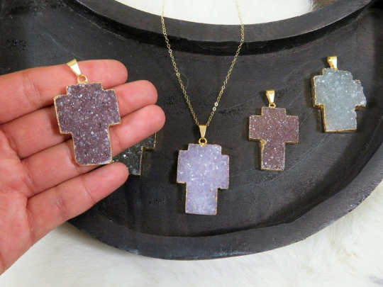 Druzy Cross Pendant with Electroplated 24k Gold Edge and bail (S1b31-06)