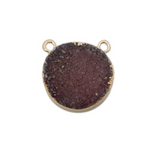 Round Dyed Pink Druzy Coin Double Bail Pendant with Electroplated 24k Gold Edge (S113B10-12)