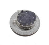 Round Dyed Purple Druzy Coin Double Bail Pendant with Electroplated Silver Edge (S113B10-13)