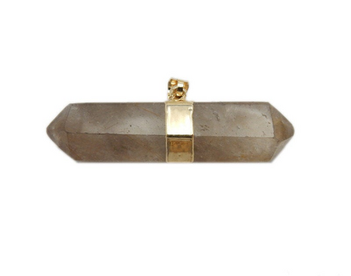 Rutilated Crystal Quartz Double Terminated Point Pendant with Electroplated 24k Gold Band (S113B10-14)