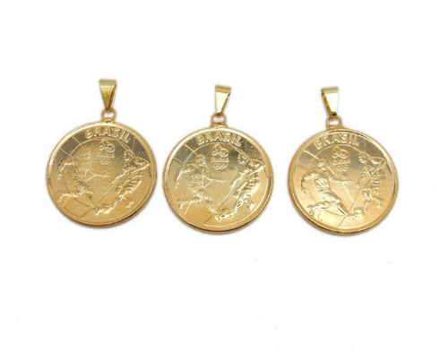 Coin Pendant - 2016 Brazil Olympics - 1 Real with Electroplated 24k Gold (S113B10-15)