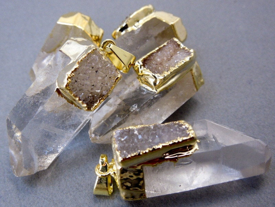 Crystal Quartz Point Pendant Gold Electroplated Cap and Druzy Accent (S20B1-01)