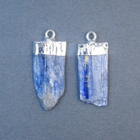 Raw Blue Kyanite Pendants Charms with Silver Electroplated Caps - 1 PAIR (S20B1-04)