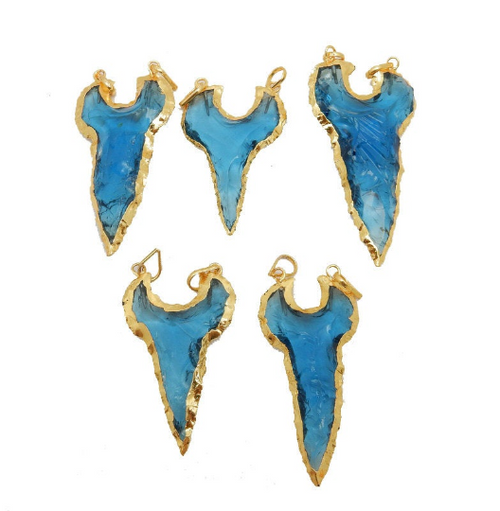 Blue Glass Shark Tooth Double Bail Pendant with Electroplated 24k GOld Edge (S99B6)