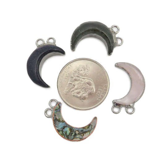 Gemstone Moon Pendant - Double Bail with Electroplated Edge - Polished Crescent Connectors (S118)
